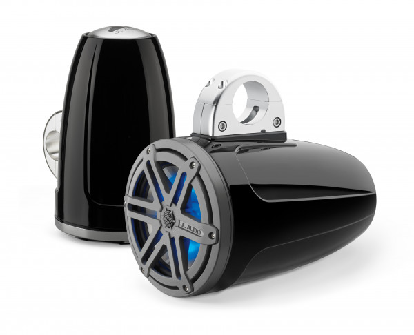 "JL Audio Marine MX 7.7"" (196mm) Tower Coaxial Speakers w/ LED Satin Titanium Black Sport Grills"