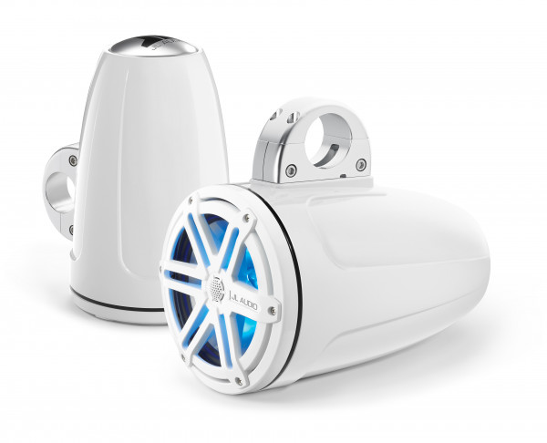 """JL Audio Marine MX 7.7"""" (196mm) Tower Coaxial Speakers w/ LED White Sport Grills"""